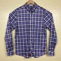 Iliac Golf Button Up Shirt Mens Size Large Purple Plaid Long Sleeve Stretch