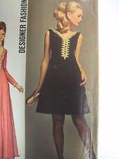 Vtg 60s Simplicity JEWEL TRIMMED LOW-V NECK DESIGNER DRESS Sewing Pattern Women