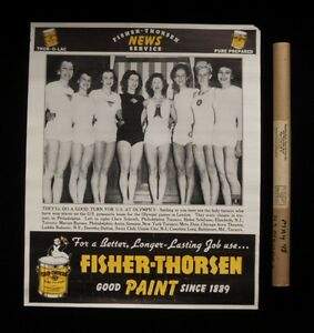 >1948 Dispatch Photo News Poster: London Olympics WOMEN'S USA GYMNASTICS TEAM