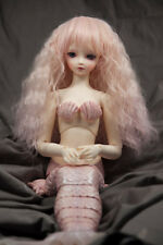 Doll Wig Crimped Flaxen Blonde Fade Pink BJD Ball Jointed Doll Size 6-7, 8-9 NEW