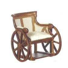 Dolls House Victorian Walnut Wheelchair Cane Back Platinum Miniature Furniture