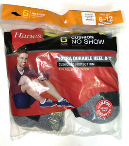 SLIGHTLY IMPERFECT Hanes 6 PAIR Men's Cushioned No Show Gray Socks