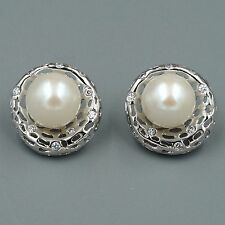 10 mm White Pearl CZ Sterling Silver Stud Earrings Cultured Freshwater 07647