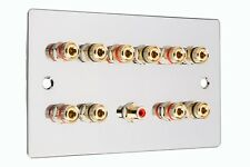 5.1 Surround Sound Speaker Wall Face Plate - Chrome - No Soldering Required