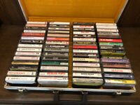 Qty 60 - 1980's CASSETTE TAPES & CASE  Country, Pop, Rock, Music Albums LOT