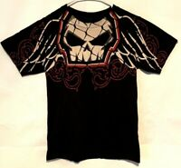Vintage No Fear Skull With Wings Tshirt MOTO-X Biker Skate Black Size Small  A23