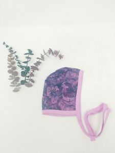Handmade Baby Bonnet 1-2 Month Pink Purple Floral Baby Girl Hat Summer Spring