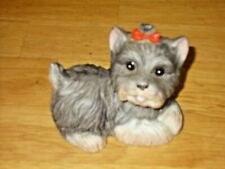 New ListingHomco Vintage Porcelain Figurine -#1475 Yorkie Puppy with Red Bow