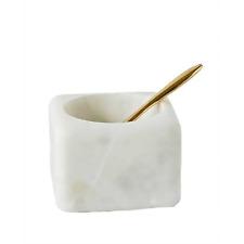 Marble Salt Cellar with Brass Spoon