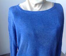 Talbots Spring linen sweater XL pullover LS knit cornflower blue
