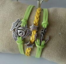 Retro Fashion Leather Bracelet Green Yellow Infinity Anchor Rose Charm Jewelry