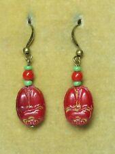 Art Deco Czech red scarab earrings -  beads from broken Max Neiger necklace