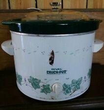 Vintage Rival 6 Quart Slow Cooker Crock-Pot 3656 Green Removable Stoneware