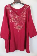 CATHERINES Maroon w/Gold Embellishment Henley 3/4 Sleeve 100% Cotton Top Size 2X