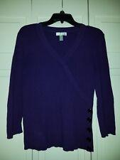 Dressbarn-Faux Wrap-Pullover Sweater-Dark Purple-size Med-3/4 sleeve-Blk Buttons