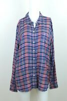 Lucky Brand Women's Size L Large Plaid Long Sleeve Tunic Button Up Blouse Rayon