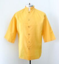 Vgc Vtg 50s 60s Gold Silky Poly Barber Uniform Camp Smock Shirt Crest Logo L