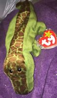 TY Beanie Baby - ALLY the Alligator - Tag Protector PVC Pellets-RETIRED 1993