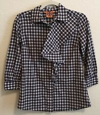 Tory Burch Size 2 Plaid Ruffle Front 3/4 Sleeve Top Red Black White L11