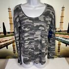 LUCKY BRAND Women's Waffle-knit Gray Camo Thermal Casual Shirt Top Size Small