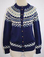 Vintage 50's 100% Wool Blue Cardigan Sweater Switzerland Ausoni Sports Size M/L