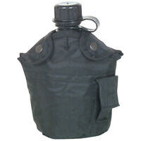 NEW Tactical Military 1qt Canteen COVER with Alice Clips and Side Pouch BLACK
