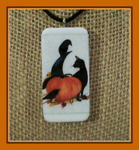 WITCH'S HAT, BLACK CAT, CROW AND PUMPKIN PENDANT FOR HALLOWEEN OR FALL