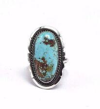 Navajo Handmade Sterling Silver Kingman Turquoise Ring - Augustine Largo