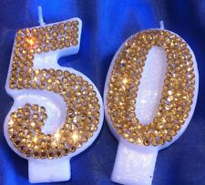 Fifty 50 Birthday CANDLE Gold Diamanté Cake Topper Party FREEPOST