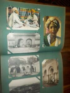 ANTIQUE POSTCARD ALBUM OF EGYPT NORTH AFRICA 207 CARDS, ARABS, PYRAMIDS, MARKETS