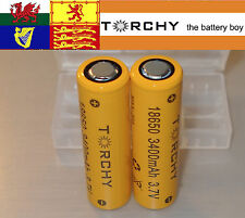 2x 20A Torchy (Sanyo) 3400mAh Flat Top 18650 3.7v Li-ion batteries  + case