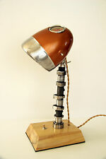 Vintage Desk Lamp From Motorcycle Headlight, Wooden Base, Engine Shaft