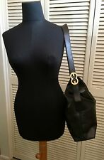 ESCADA Leather Slouch Hobo Bag Purse Handbag Black/Gold Medium/Large M L $750