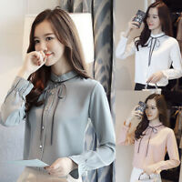 Women Cute OL O-Neck Lace-up Solid Long Sleeve Chiffon Bow Tie Shirt Top Blouse