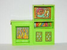 VTG Vintage Green Plastic Dollhouse Living Room w/ Troll TV, Fire Sticker Decals