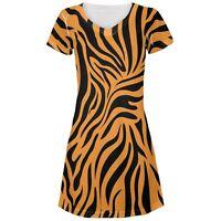 Zebra Print Orange Juniors V-Neck Beach Cover-Up Dress