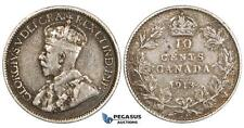 ZM733, Canada, Geroge V, 10 Cents 1913 Broad Leaves, Silver, Toned VF-XF (Circul