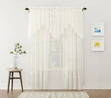 Curtain Window Panel 58 by 63-Inch Ivory Jacquard Lace Home Decor