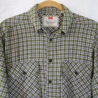 Men's Lightweight Levi's Plaid Flannel Shirt Olive/Blue EUC Sz M Medium Nice!
