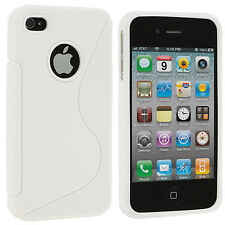 White TPU S-Line Rubber Premium Skin Case Cover for iPhone 4 4S 4G