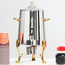 Choice Deluxe 3 Gallon 48 Cup Stainless Steel Coffee Chafer Urn Gold Accents