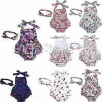 Newborn Infant Baby Girl Ruffle Lace Romper Floral Cover Dress Jumpsuit Bodysuit