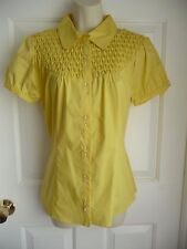 Kenar NEW Blouse Shirt Blouse M Sunny Yellow Honey Comb Clear Crystal Buttons