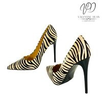 Mulanka Women's Shoes Beige Zebra Print Began Leather Courts Size 4 Uk / 37 Eu