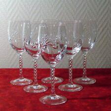 6 verres à vin blanc en cristal d'arques du modèle Fleury épi
