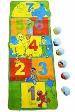 """Sesame Street Activity Rug - Hopscotch Activity Mat 25""""x60"""", 6 Bean Bag Pieces"""
