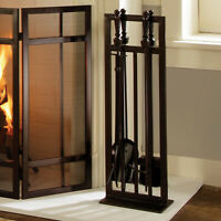 Wenge Steel Mission Style 5-Pcs Fireplace ToolSet W/ Heavy-Duty Stand Home Decor