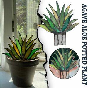 Suncatcher Stained Agave Plante Realistic Potted Bonsai Mini Acrylic Aloe Decor