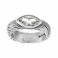Silpada 'On Your Marquise' Cubic Zirconia Etched Ring in Sterling Silver