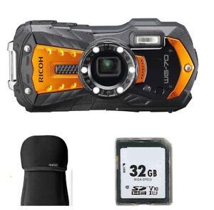 Ricoh WG-70 Unterwasser Outdoor Kamera Zubehörpaket: 32 GB Karte + Tasche  WG70